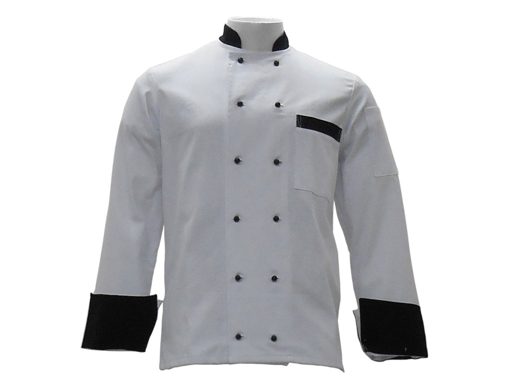 Cheff Jacket White with Black Buttons and Cuffs